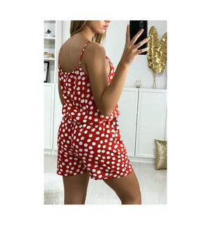 COMBI-SHORT À POIS ROUGE