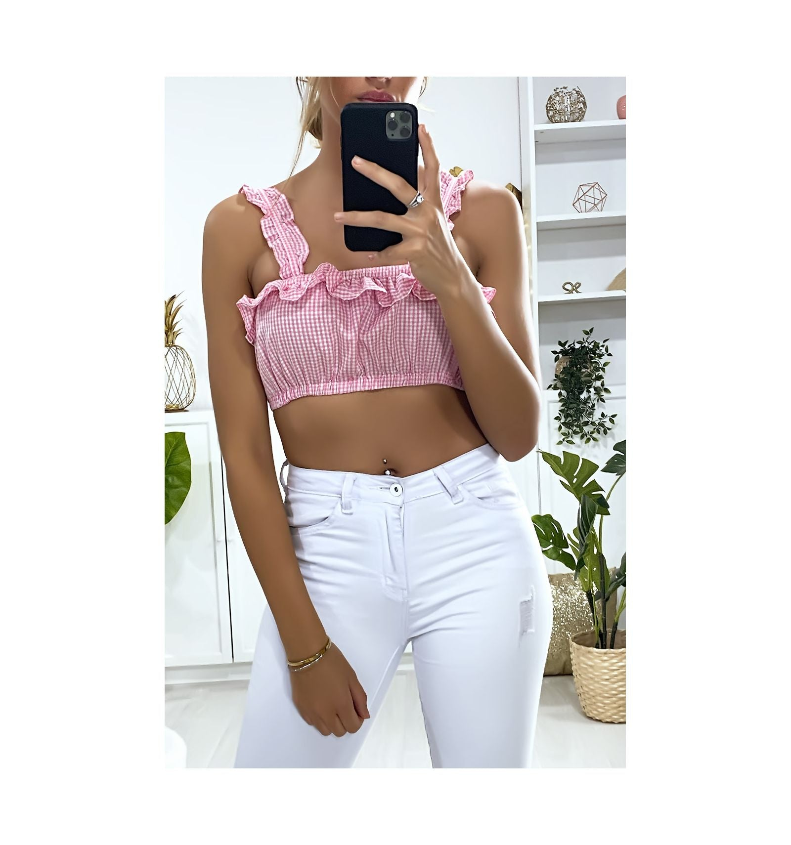 CROP TOP ROSE À BRETELLES