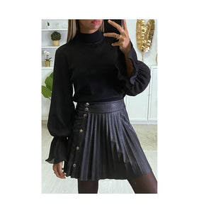 PULL NOIR MANCHES BOUFFANTES