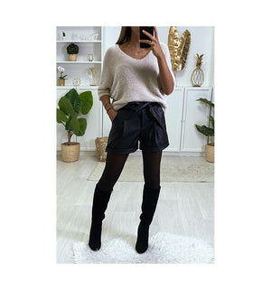 SHORT NOIR EN SIMILI CUIR