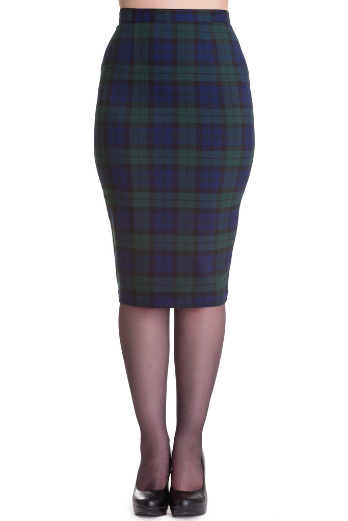Jodie Tartan Pencil Skirt by Hell Bunny