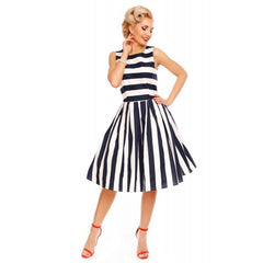 Annie Retro Stripe Swing Dress by Dolly and Dotty