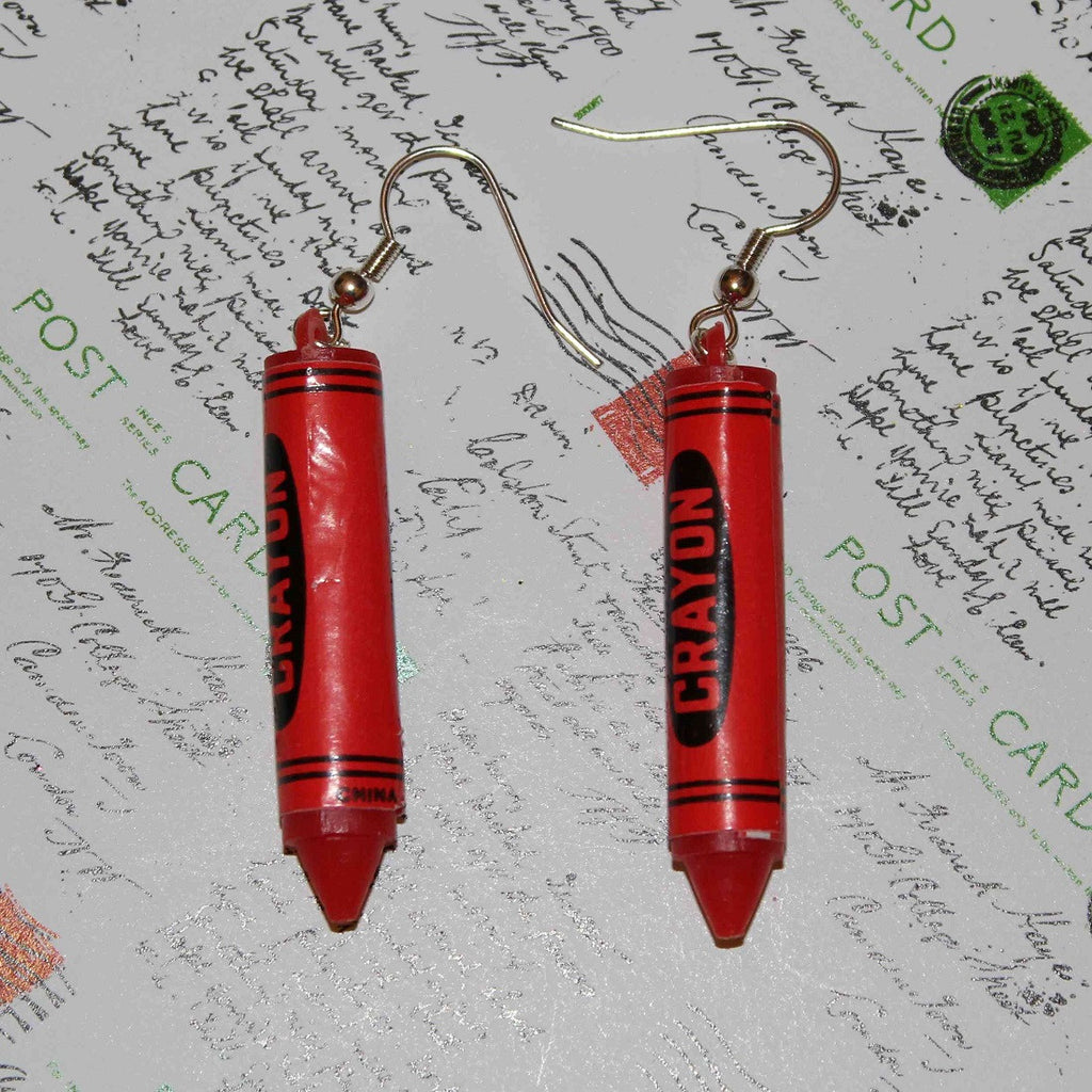 red crayon doodly dandy earrings