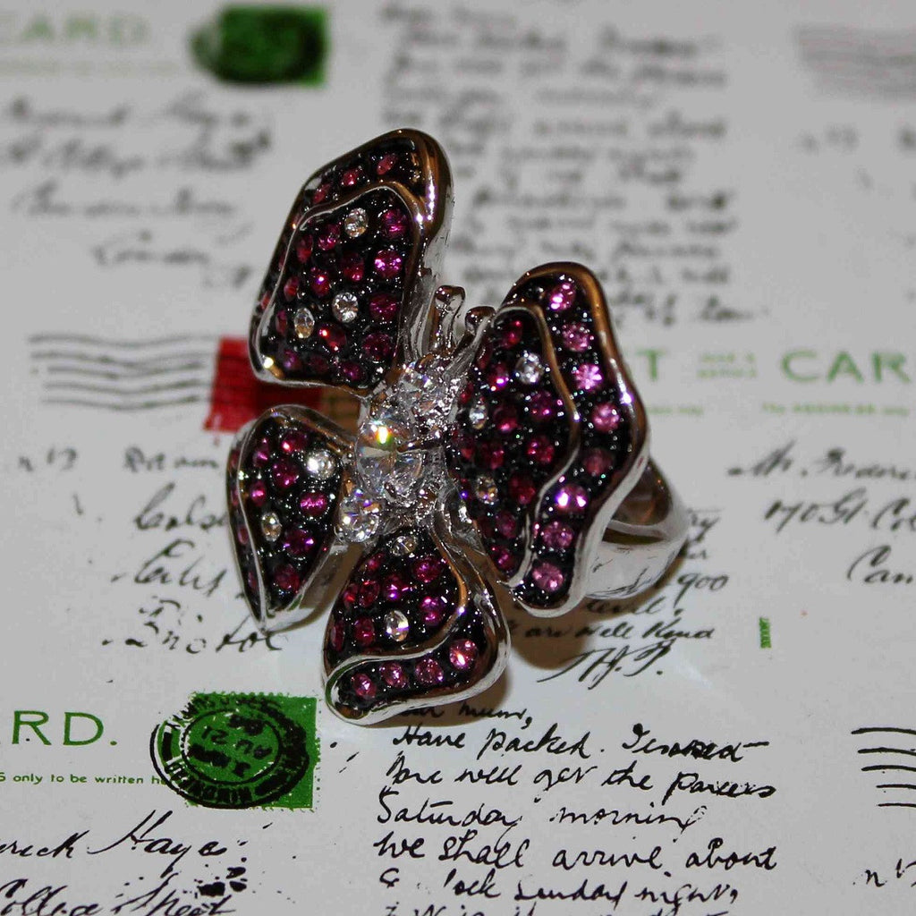 swarovski crystal butterfly ring