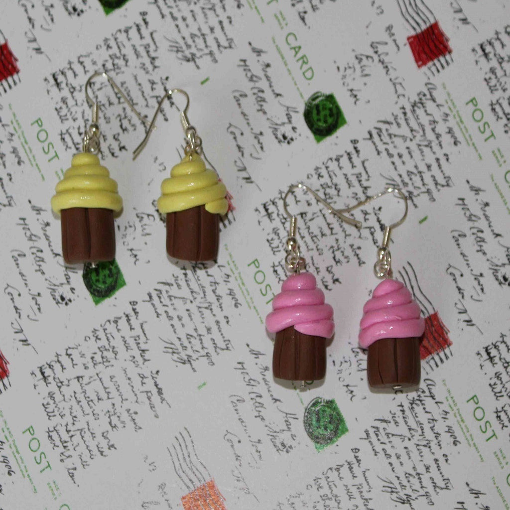 Handamde lemon & Strawberry mini cupcake earrings
