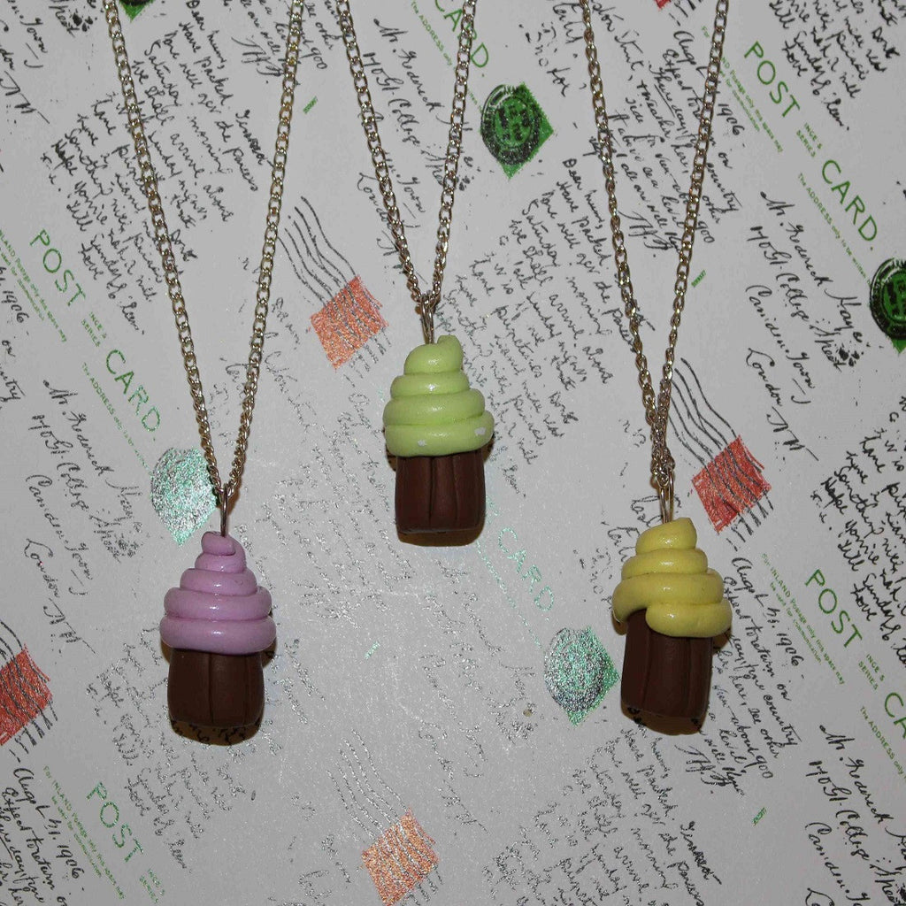 Handmade blackcurrant, mint & lemon mini cupcake necklaces