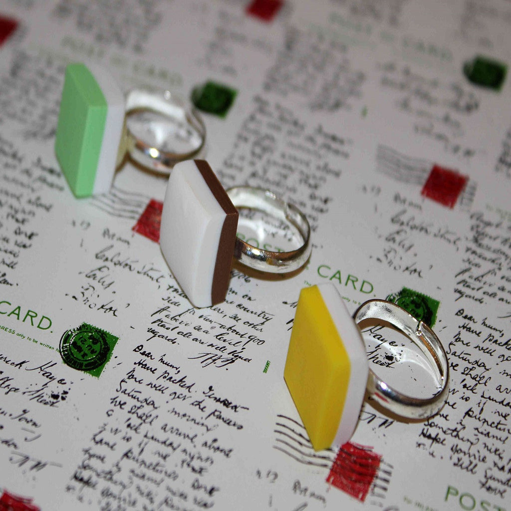 Green, brown & yellow handmade dolly mixture ring