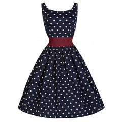 Lana Navy Polka Dot Dress with cinch belt by Lindy Bop