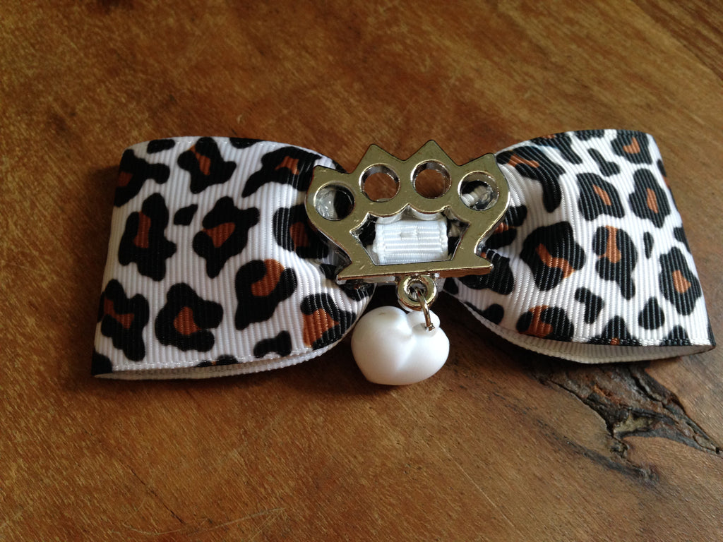 Silver Brass Knuckles Hair Bow by Punk Up Bettie