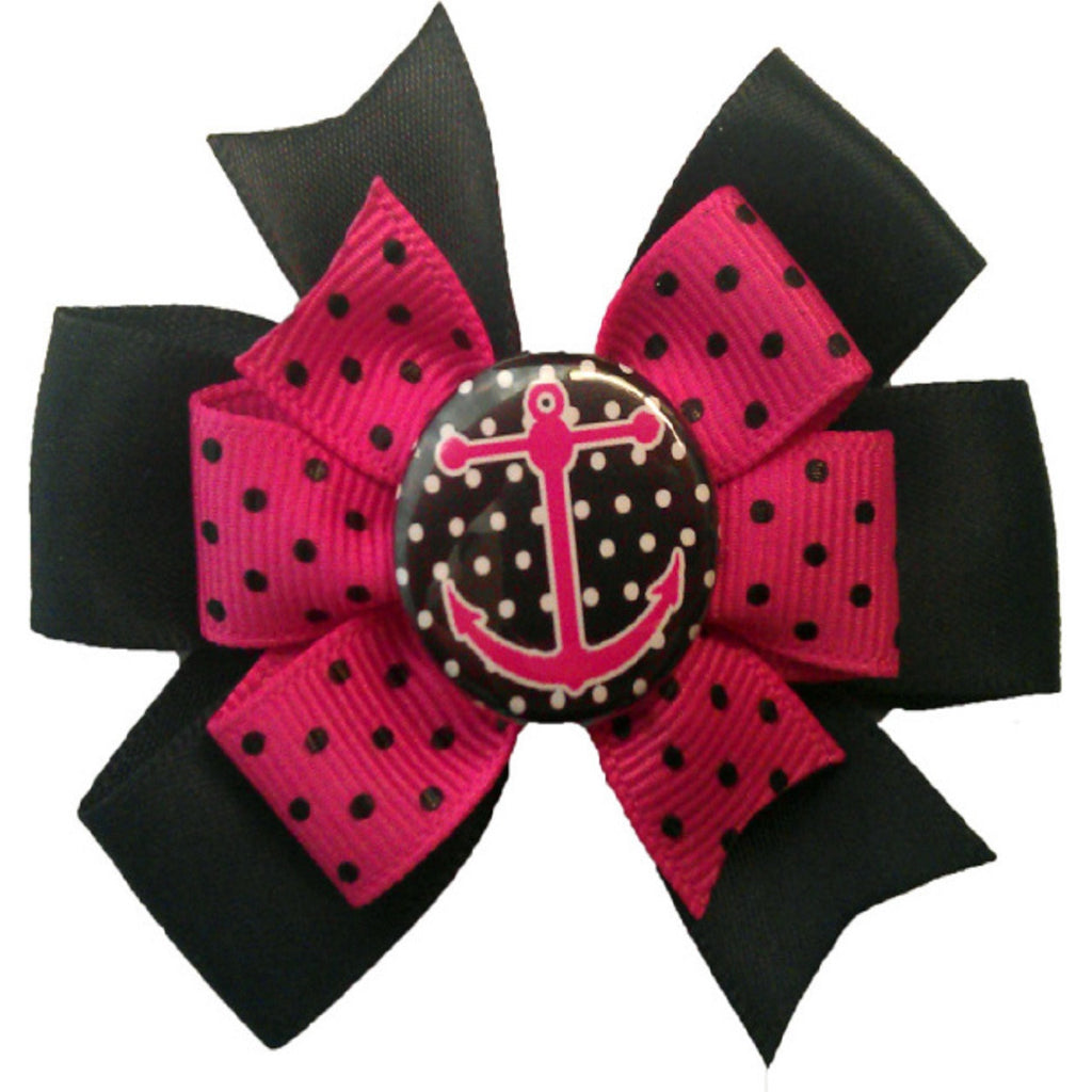 black with pink polka dot anchor hair bow