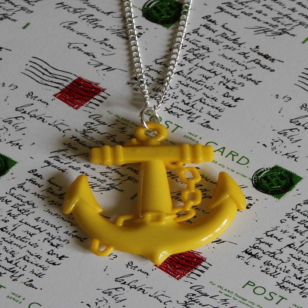 yellow anchor necklace
