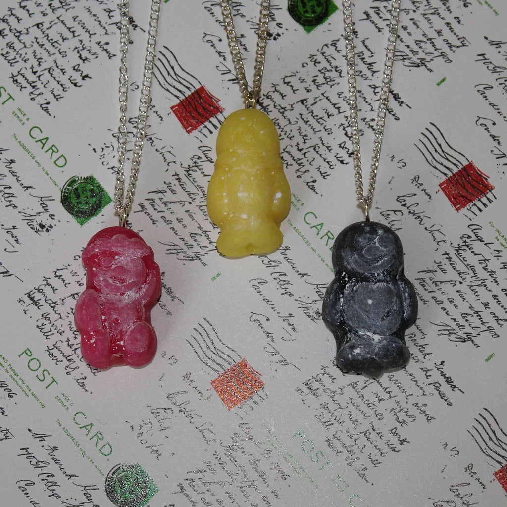 red, yellow and black handmade jelly baby necklaces