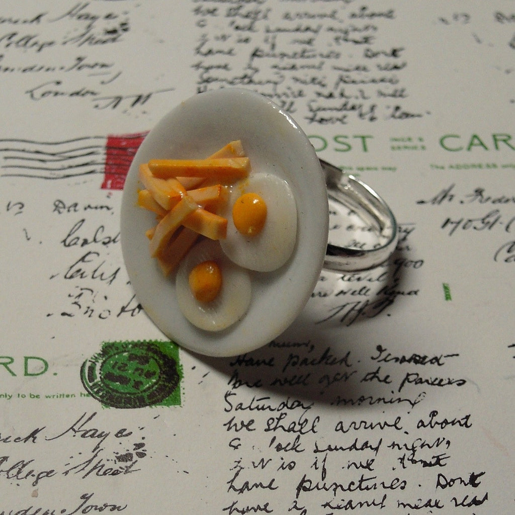 plated egg and chips ring