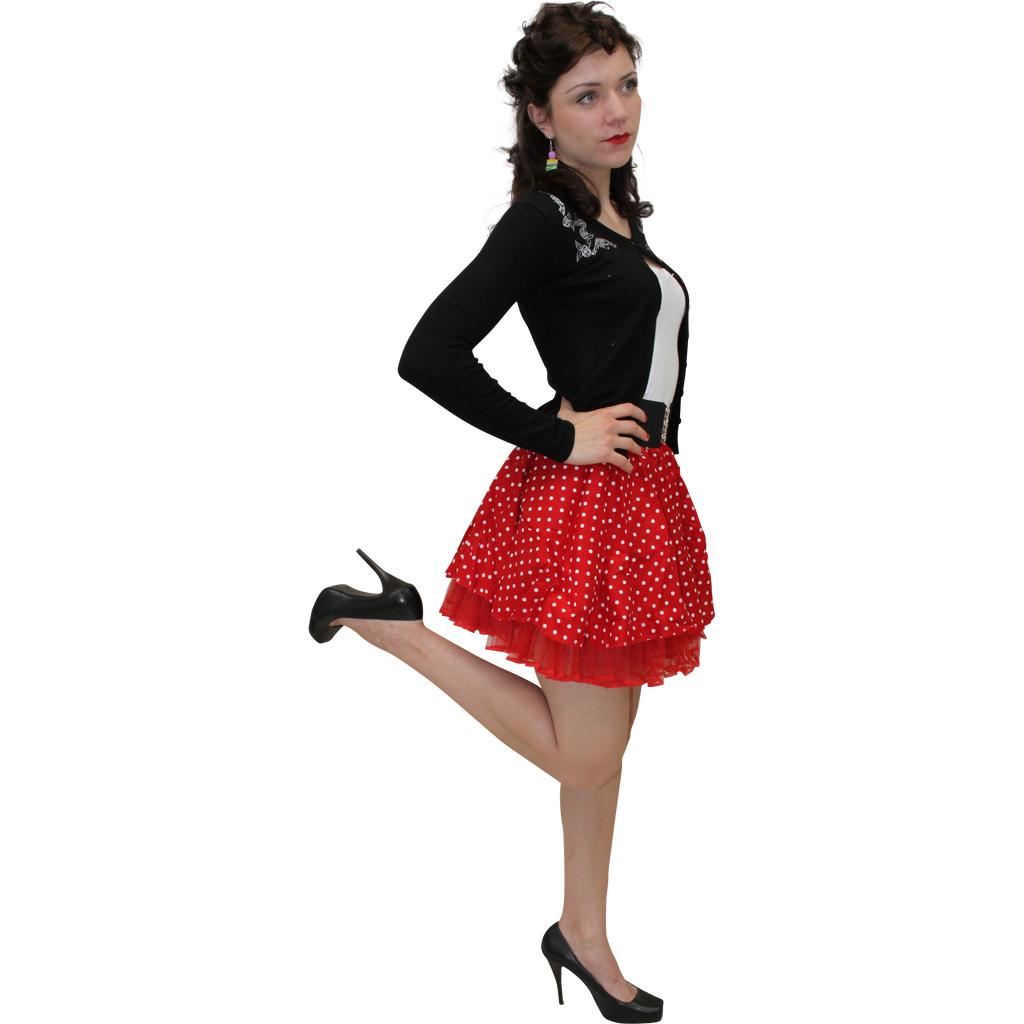 Red mini polka dot swing skirt