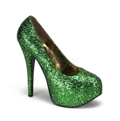 Green Teeze 06 Glitter Platforms by Bordello