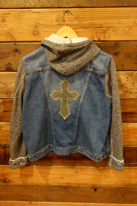 Lucky Brand jean jacket, one of a kind, upcycled clothing, military cross