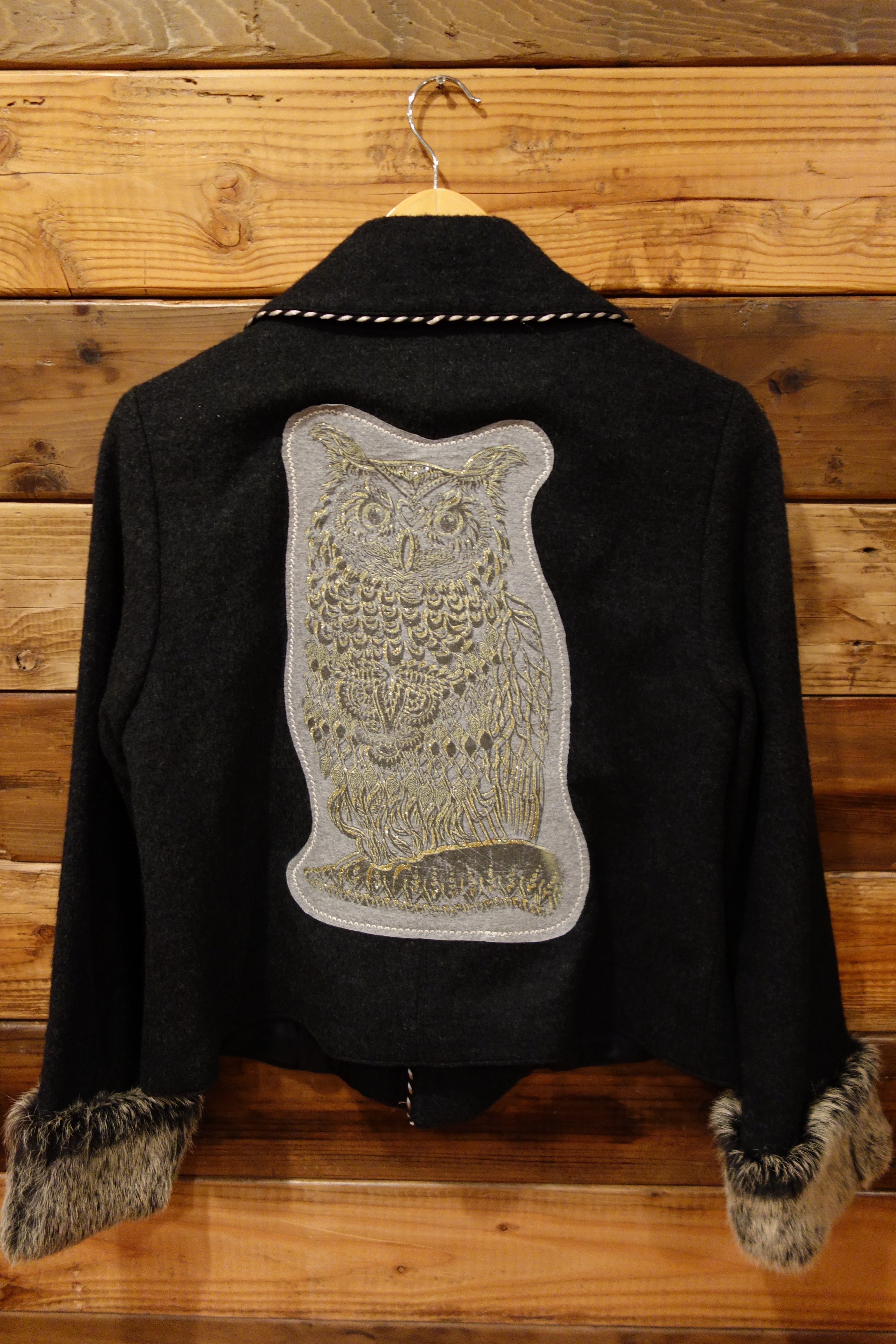 Owl vintage retro double breasted jacket with real fur sleeves Luth one of a kind