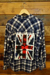 Vintage one of a kind flannel Union Jack lion