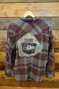 Vintage Quiksilver one of a kind Smokey the Bear flannel shirt