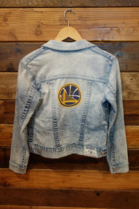 One of a kind True Religion trucker jean jacket, Golden State Warriors