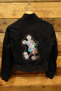 One of a kind Gap bomber jean jacket flip sequin Disney Mickey Mouse