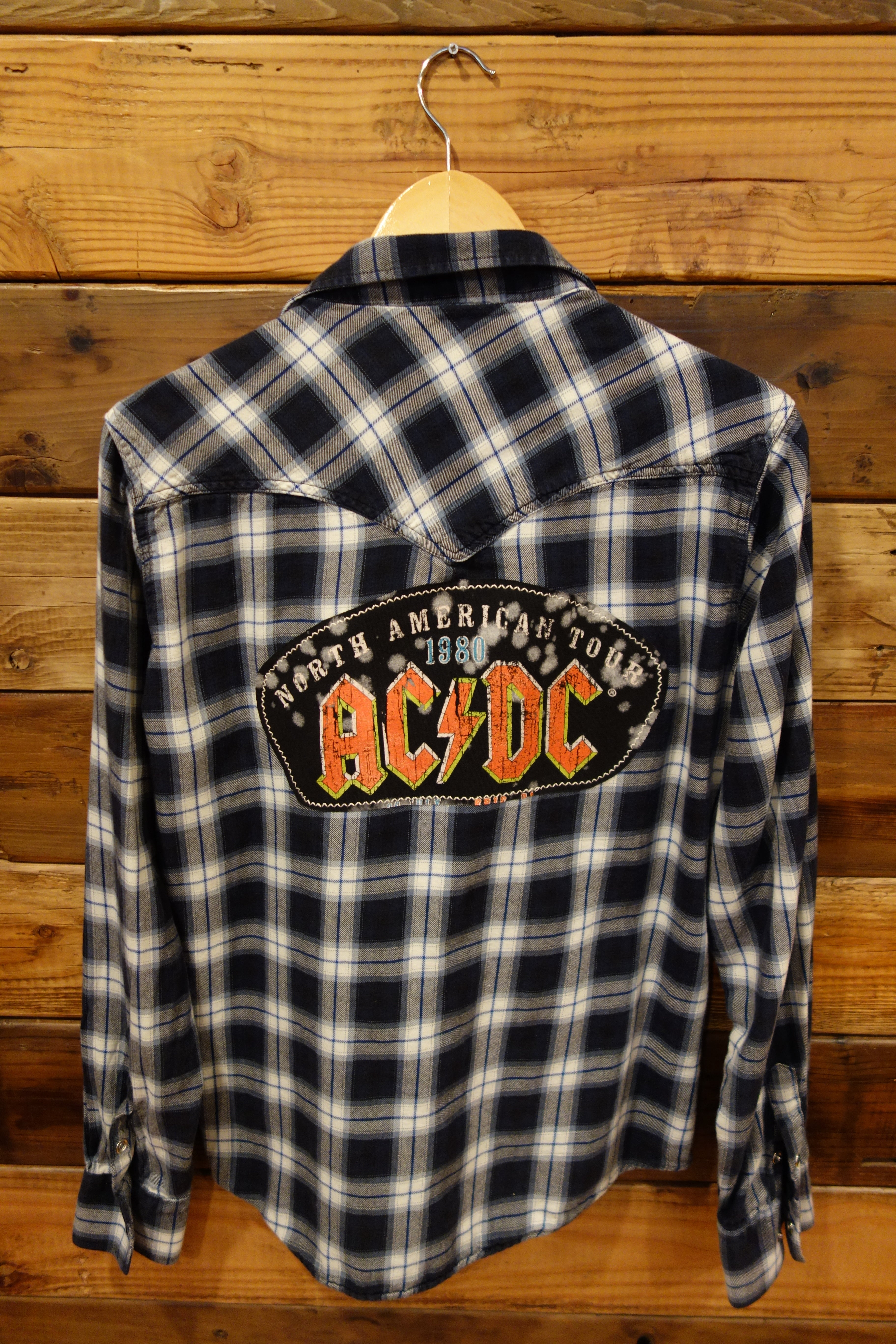 Christian Audigier flannel, one of a kind, AC?DC 1980 concert tee