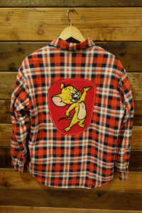 Vintage one of a kind flannel shirt jacket, Tom & Jerry