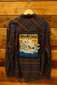 Lucky Brand one of a kind custom flannel, Star Wars Millennium Falcon