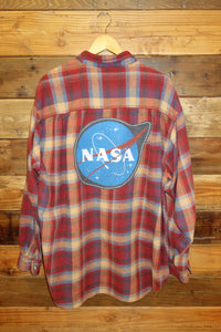 One of a kind Eddie Bauer vintage flannel, NASA meatball logo