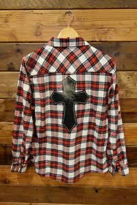 Jach's girlfriend, one of a kind vintage flannel, cross