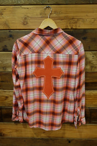 Vintage Gap flannel, one of a kind, cross