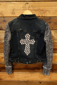 Free People one of a kind jean jacket with sleeves and removeable hood, designer cross