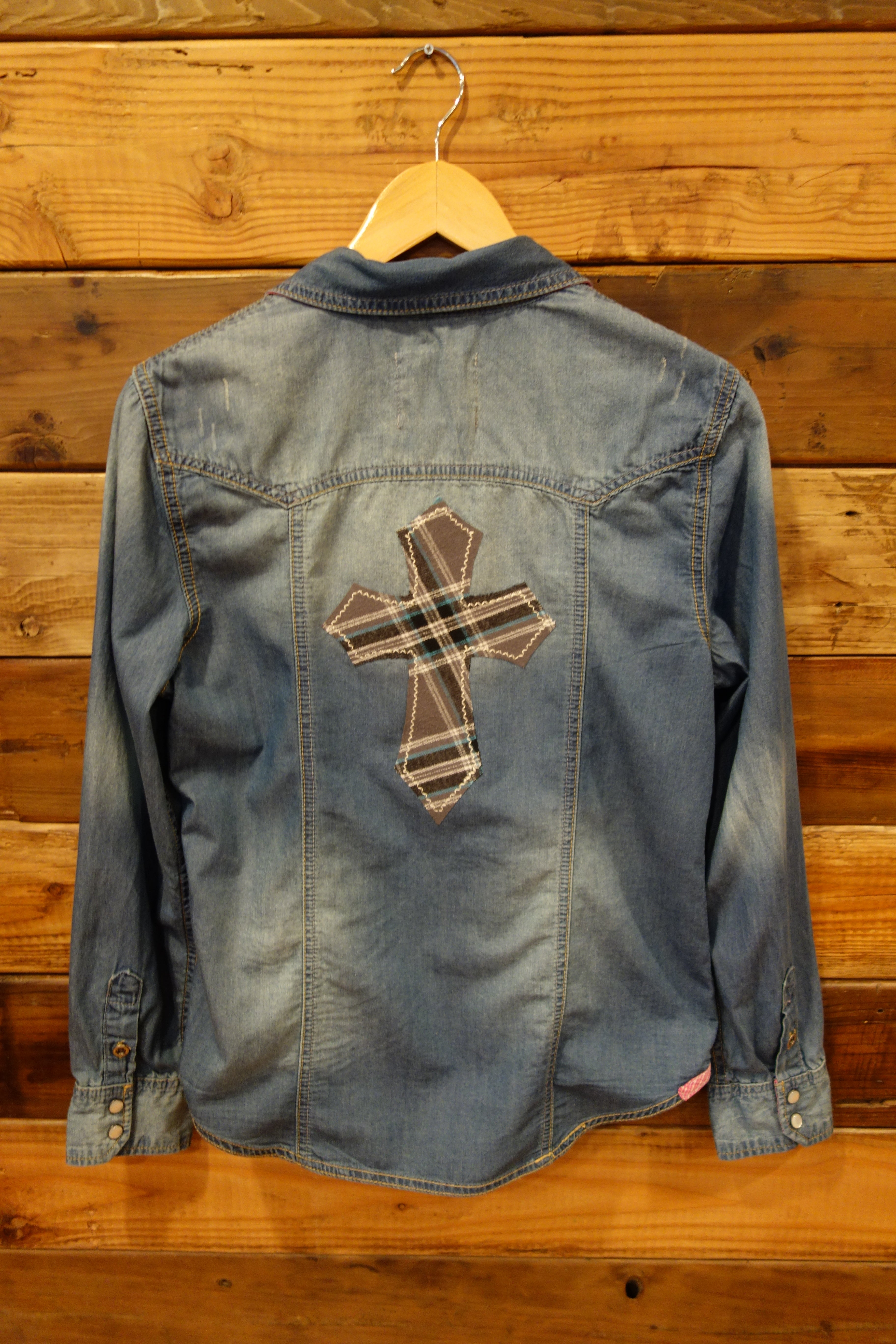 Mono B one of a kind jean shirt, flannel cross