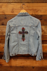 Rock & Republic jean jacket, one of a kind, stud details, cross