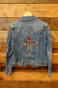 Gap jean jacket, one of a kind, designer cross