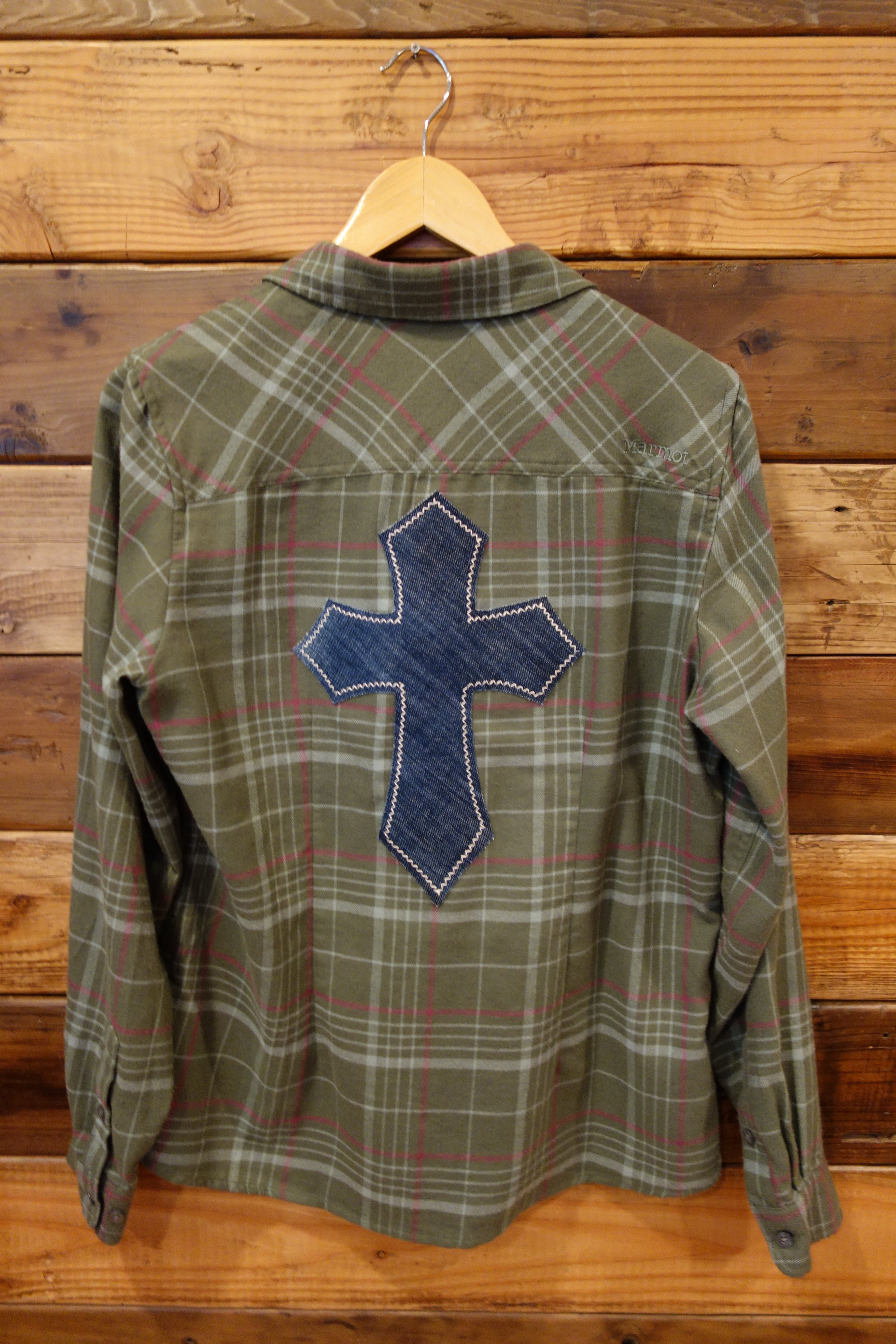 One of a kind vintage Marmot flannel, cross, upcycled clothing