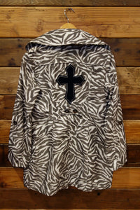 Guess vintage zebra rain jacket, one of a kind, cross, upcycled clothing