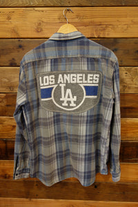 vintage Quiksilver flannel, one of a kind, LA Los Angeles Dodgers