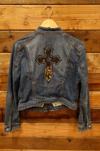 X2 Denim Laboratories, moto vintage jean jacket, one of a kind, cross