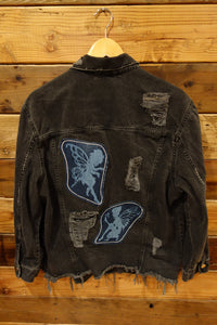 Divided distressed jean jacket, one of a kind, vintage fairies from jeans