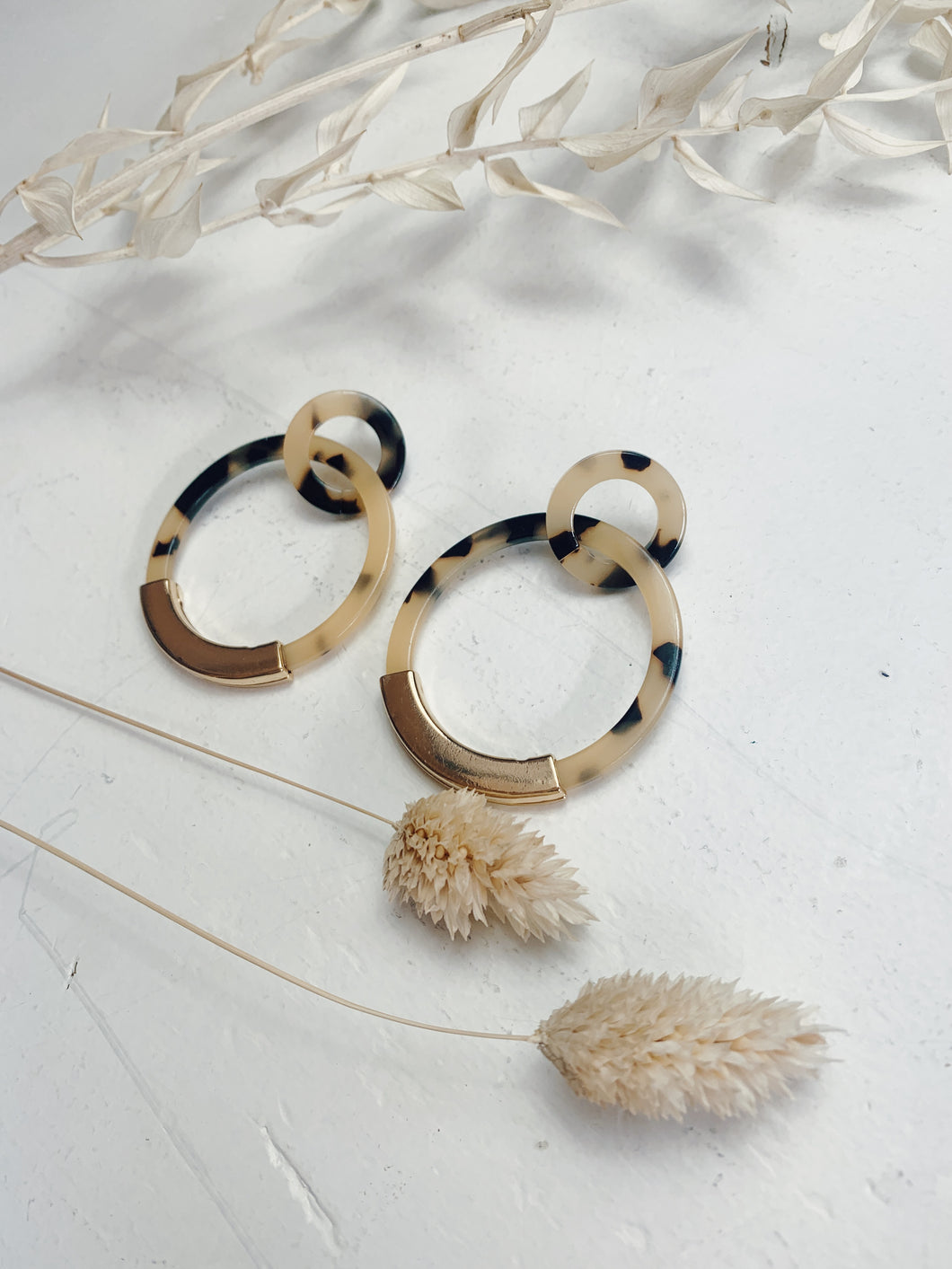 Big Cream Tortoise Hoops
