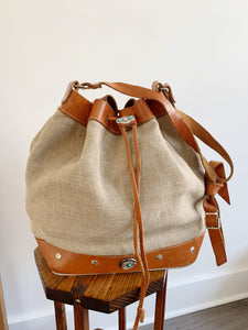 80s Linen & Leather Bucket Purse