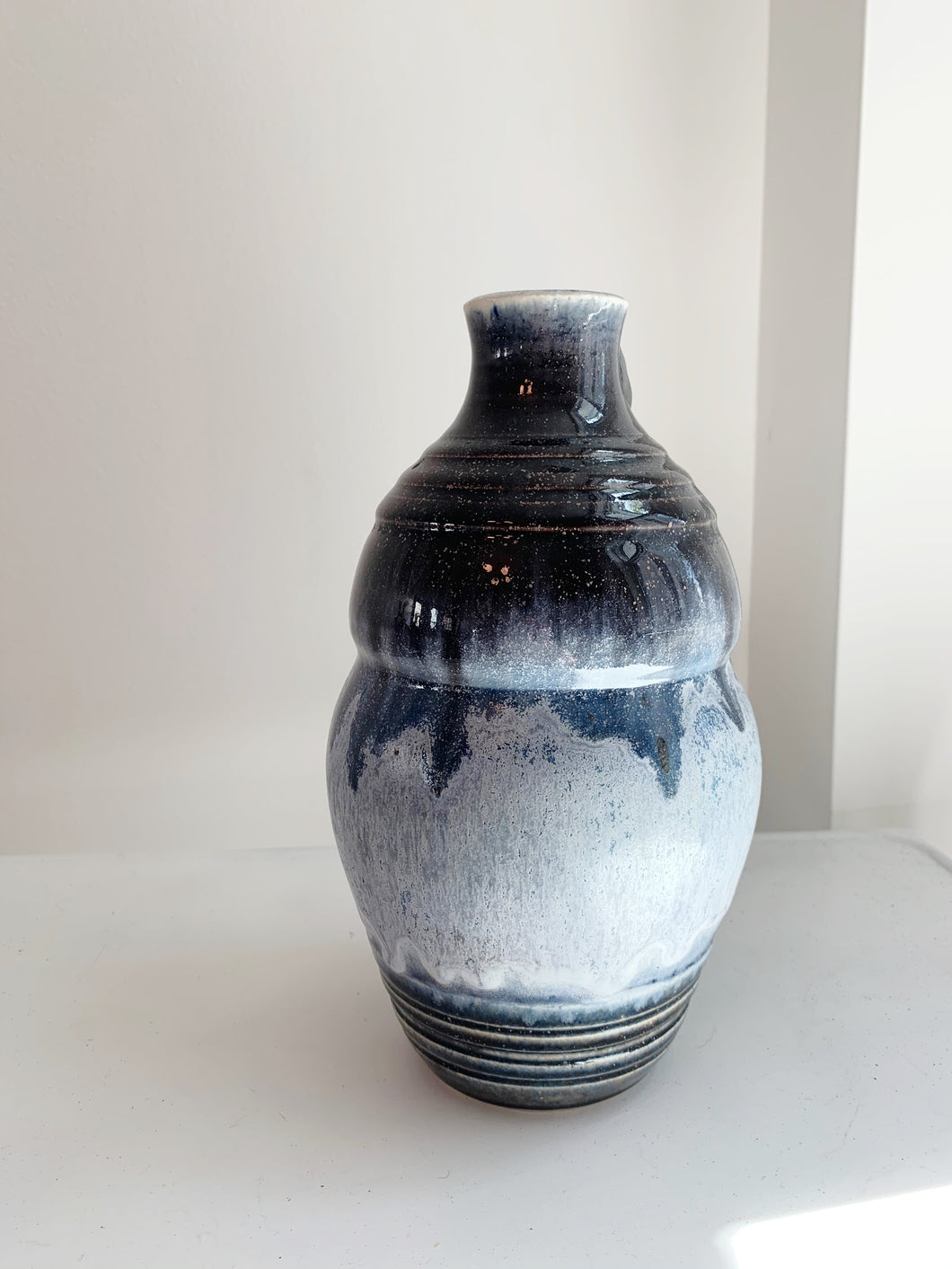 Black and Blue Pottery Vase