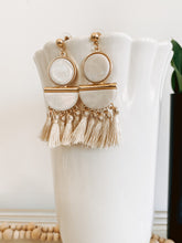 Load image into Gallery viewer, Cream Tassel Earrings