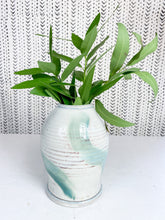 Load image into Gallery viewer, White & Turquoise Pottery Vase