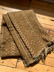 80s Chevron African Mud Cloth Blanket