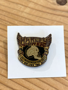 "70s Harley Davidson skull wing""power"" pin"