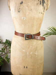 80s Brown Leather Belt