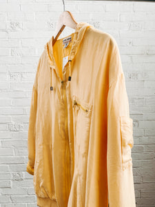 90s Silk Yellow Hooded Jacket
