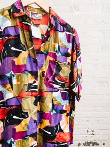 80s Abstract Button-Up